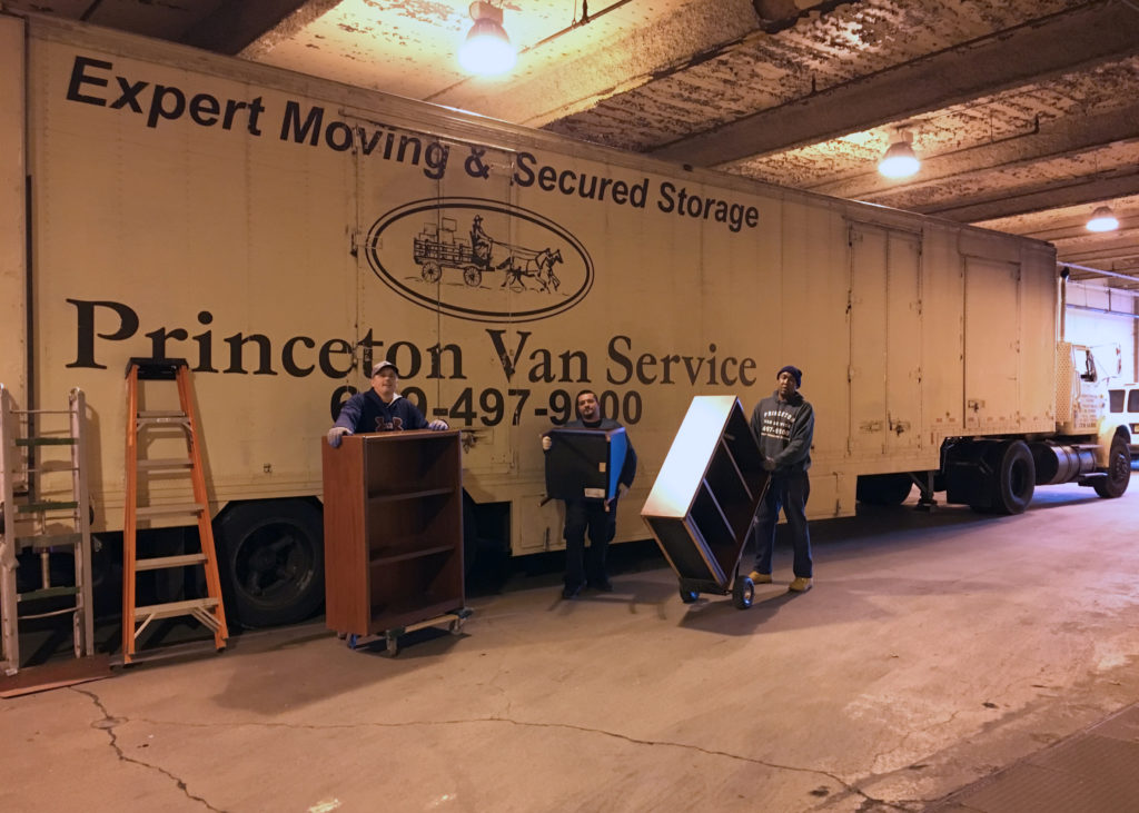 Princeton Van Service movers from left to right: Joseph Mulrine, Christopher Buzzelli, Joseph Williams